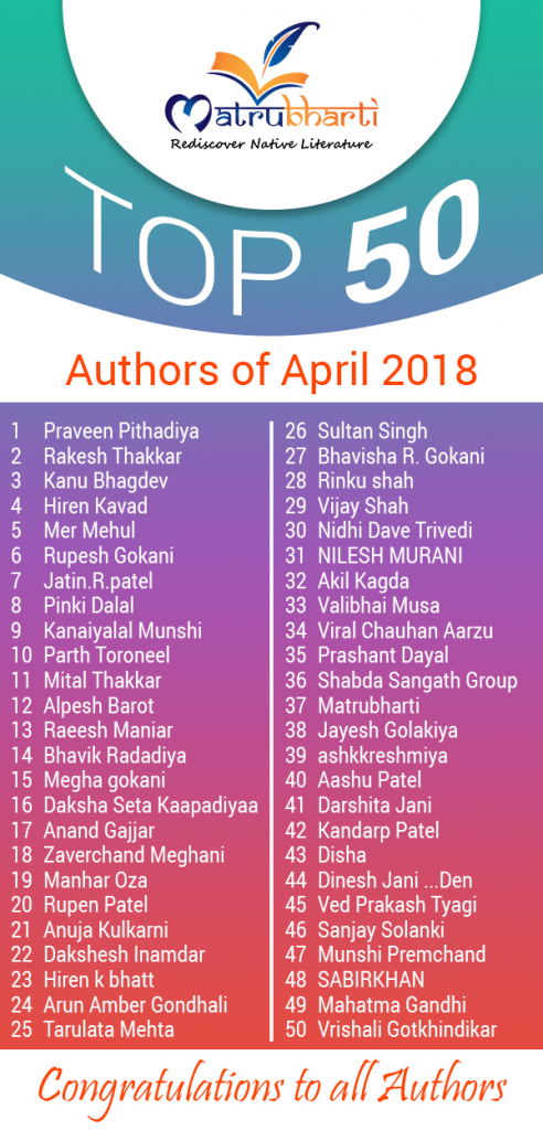 top 50 authors of april 2018